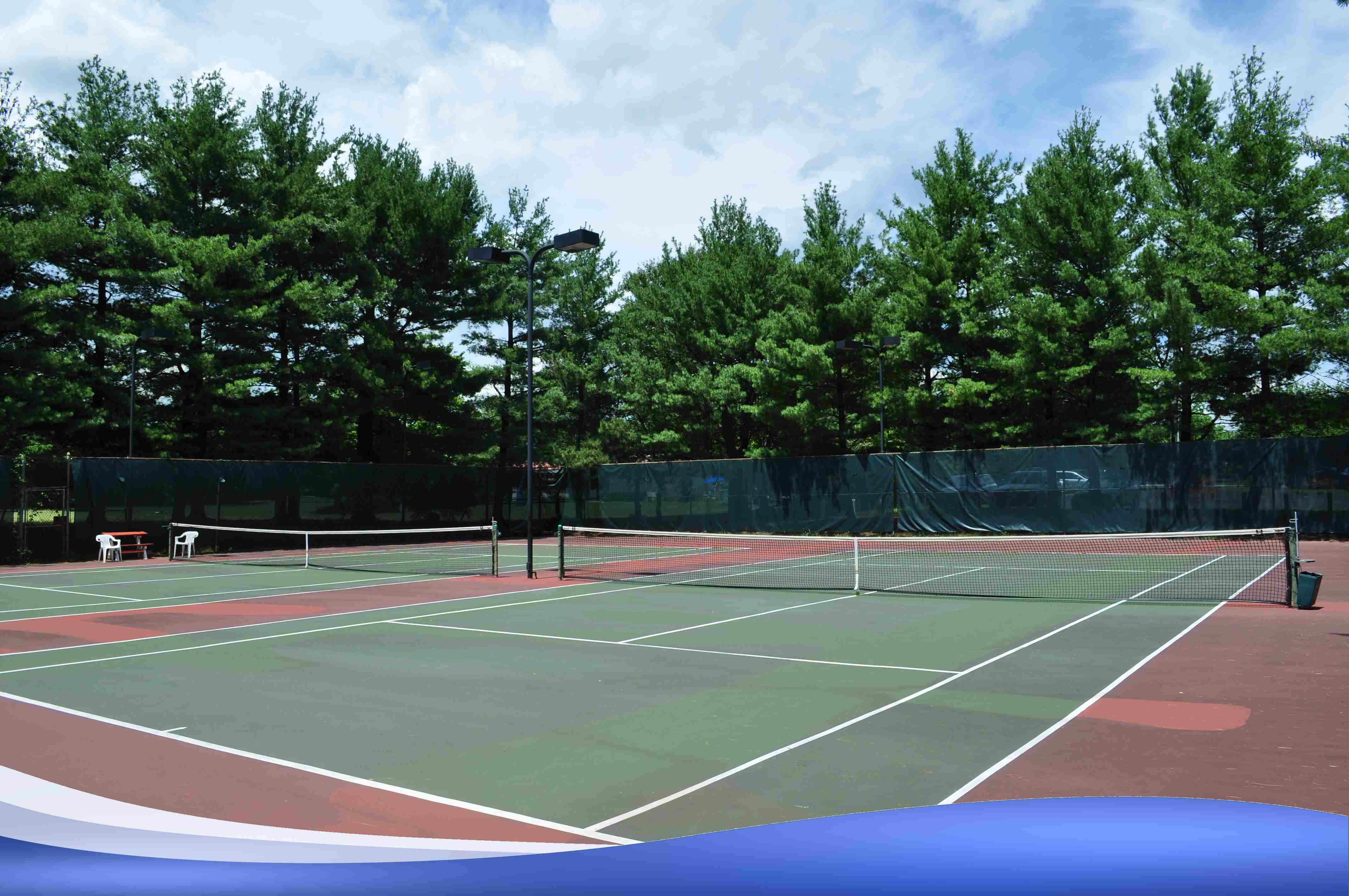 The inside of our tennis courts